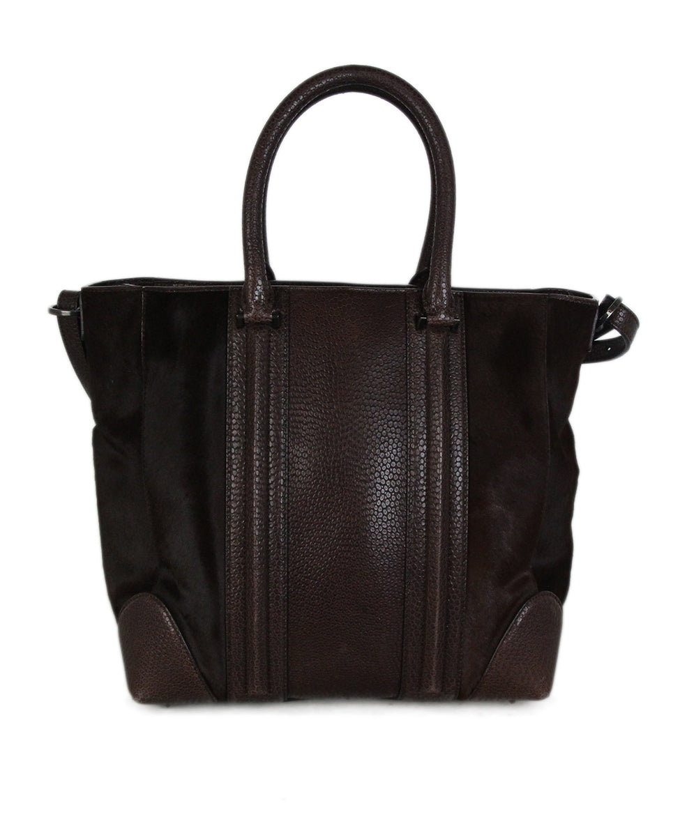 Givenchy Brown Pressed Leather Brown Calf Hair Tote 3