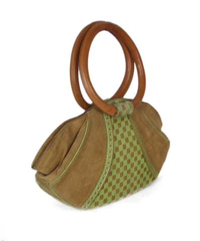 Givenchy Vintage Neutral Camel Suede Lime Green Handbag 1