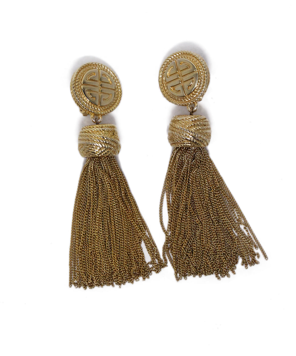 Givenchy Metallic Gold Tassel Earrings 2