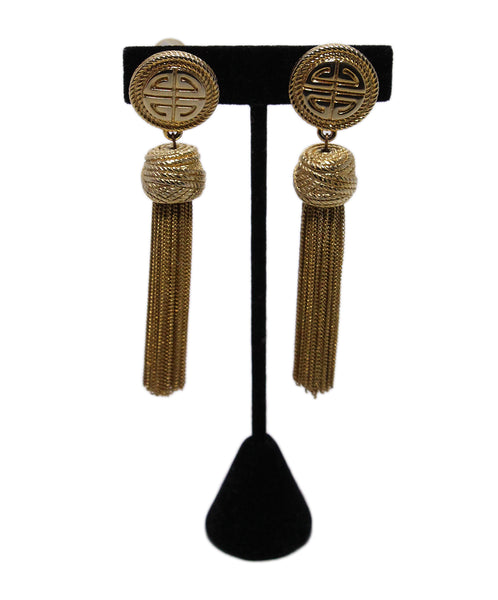 Givenchy Metallic Gold Tassel Earrings 1