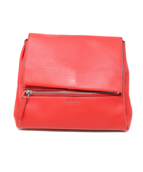 Givenchy Red Leather Satchel Handbag