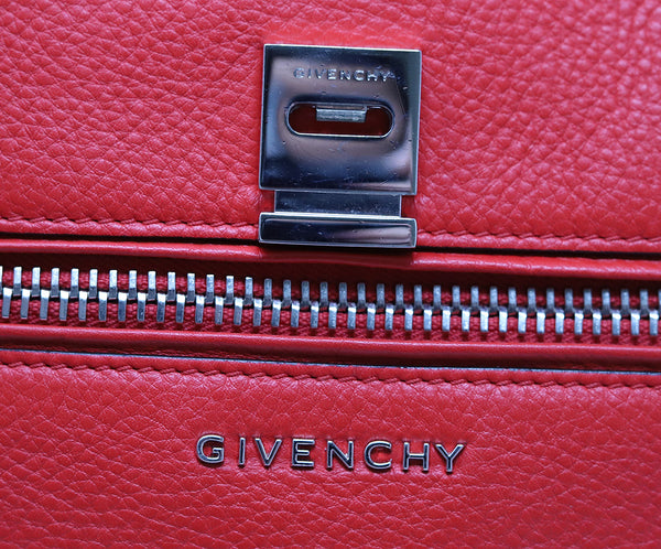 Givenchy Red Leather Satchel Handbag 9