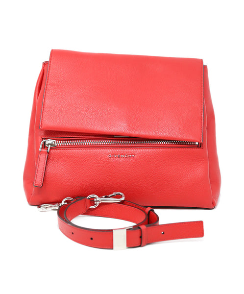 Givenchy Red Leather Satchel Handbag 5