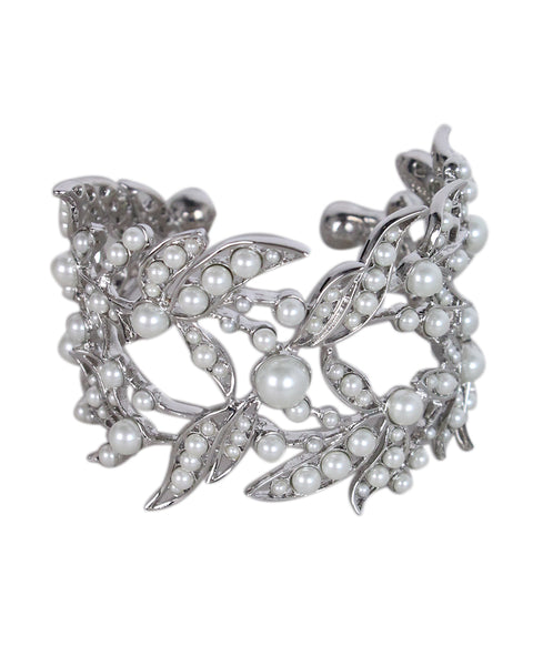 Givenchy Silver Metal Pearl Cuff Bracelet 1