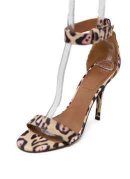 Givenchy Tan Pink Black Leopard Heels Size 9