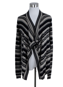 Givenchy Black Beige Stripes Wool Cardigan Sweater 1