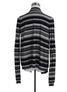 Givenchy Black Beige Stripes Wool Cardigan Sweater 2