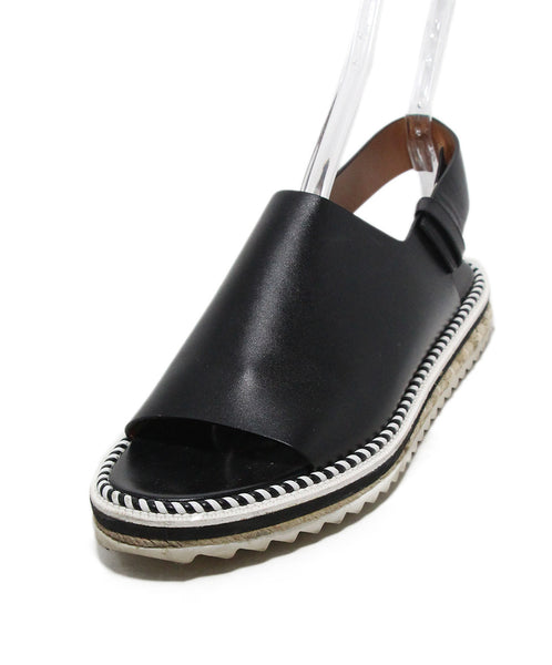 Givenchy black leather white piping sandals 1