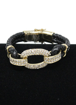 Gold Black Leather Rhinestones Bracelet 1