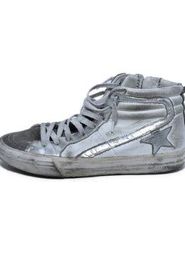 Golden Goose White Silver Leather High Tops Sneakers 2