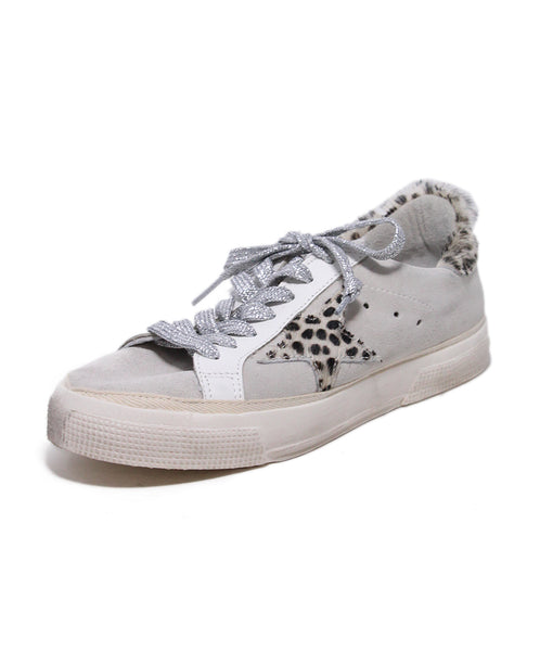 Golden Goose Grey Suede Animal Print Trim Sneakers 1