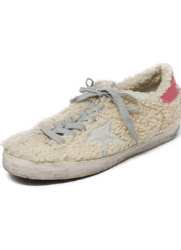 Golden Goose Neutral Beige Sheep Skin Grey Pink Shoes 1