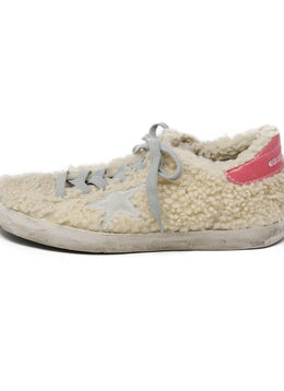 Golden Goose Neutral Beige Sheep Skin Grey Pink Shoes 2