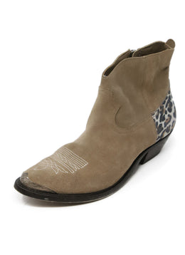 Golden Goose Tan Suede Animal Print Booties 1