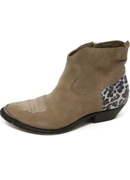 Golden Goose Tan Suede Animal Print Booties 2