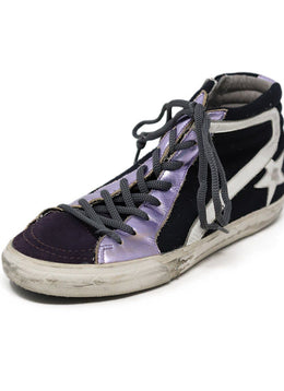 Sneakers Golden Goose Shoe Purple Lilac Leather Black Shoes