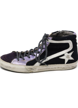 Sneakers Golden Goose Shoe Purple Lilac Leather Black Shoes 1
