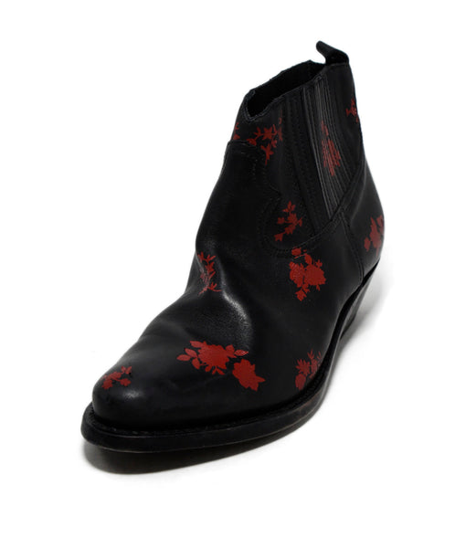Golden Goose Black Red Floral Leather Booties 1
