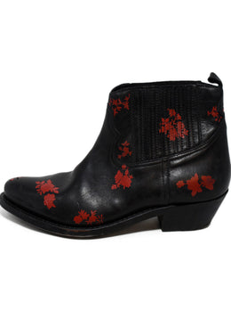 Golden Goose Black Red Floral Leather Booties 2