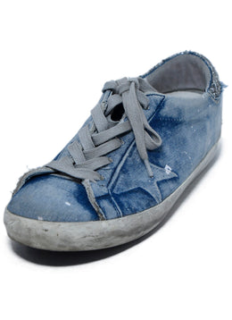 Golden Goose Blue Denim Cotton Silver Geometric Sneakers 1
