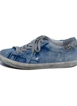 Golden Goose Blue Denim Cotton Silver Geometric Sneakers 2