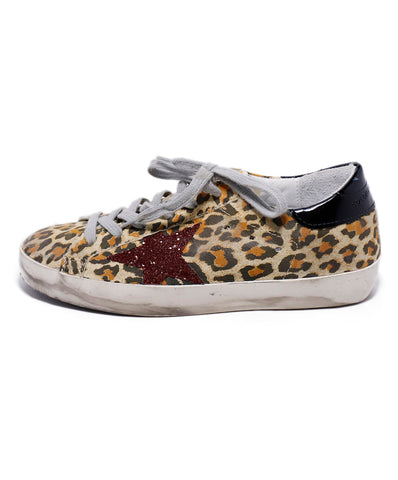 Golden Goose Leopard Print Leather Red Glitter Sneakers 1
