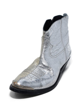 Golden Goose Metallic Silver Leather Booties 1