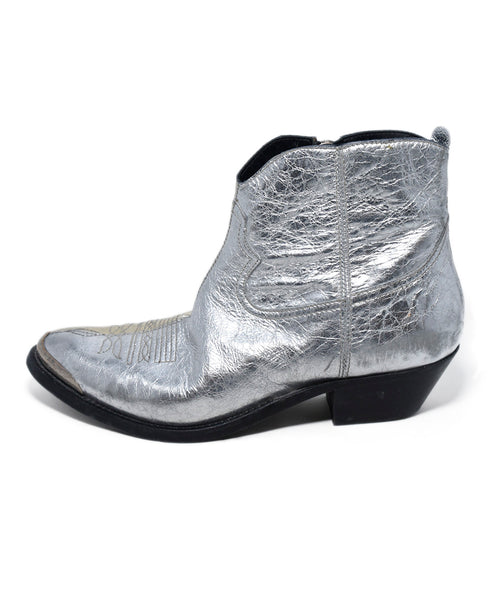 Golden Goose Metallic Silver Leather Booties 2