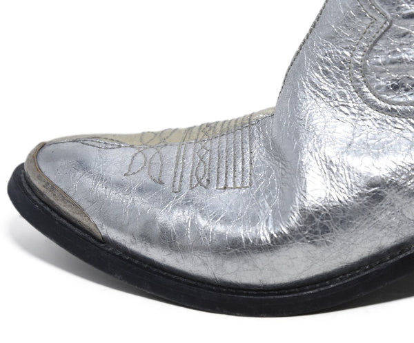 Golden Goose Metallic Silver Leather Booties 7