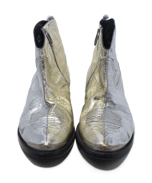 Golden Goose Metallic Silver Leather Booties 4