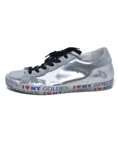 Golden Goose Metallic Silver White Leather Sneakers 1
