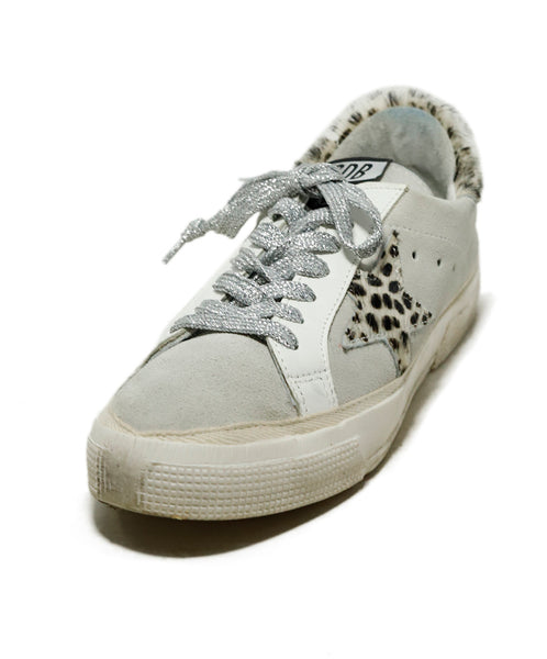 Golden Goose Sneakers Shoe Size US 7 White Grey Pony Suede Leather Shoes 1