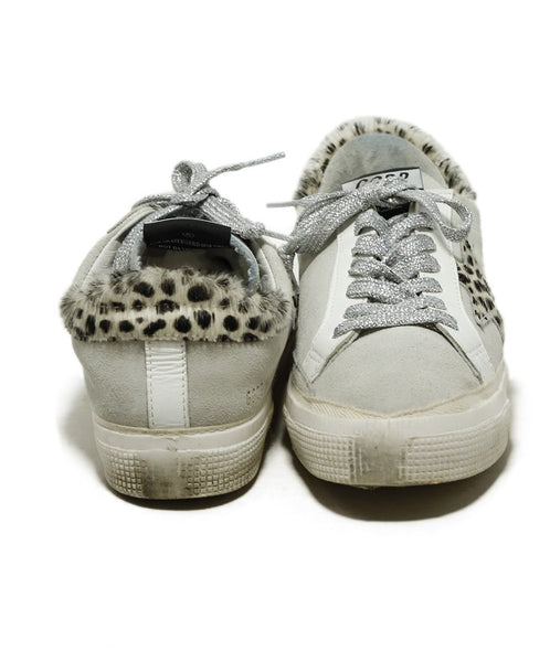 Golden Goose Sneakers Shoe Size US 7 White Grey Pony Suede Leather Shoes 3