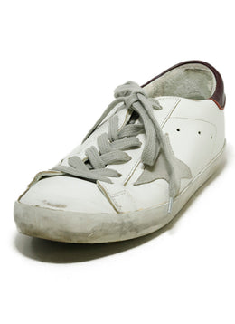Golden Goose Sneakers Shoe Size US 6 White Leather Burgundy Trim Shoes 1