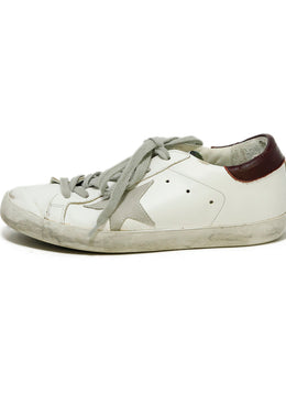 Golden Goose Sneakers Shoe Size US 6 White Leather Burgundy Trim Shoes 2