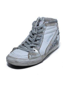 Golden Goose White Silver Leather Glitter High Top Sneakers 1