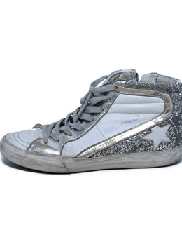 Golden Goose White Silver Leather Glitter High Top Sneakers 2