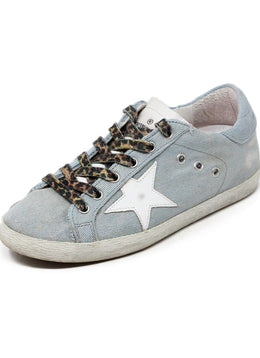 Golden Goose Light Blue Denim White Sneakers 1