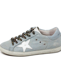 Golden Goose Light Blue Denim White Sneakers 2