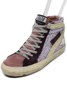 Golden Goose Pink Burgundy Leather Glitter Sneakers 1