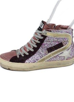 Golden Goose Pink Burgundy Leather Glitter Sneakers 2