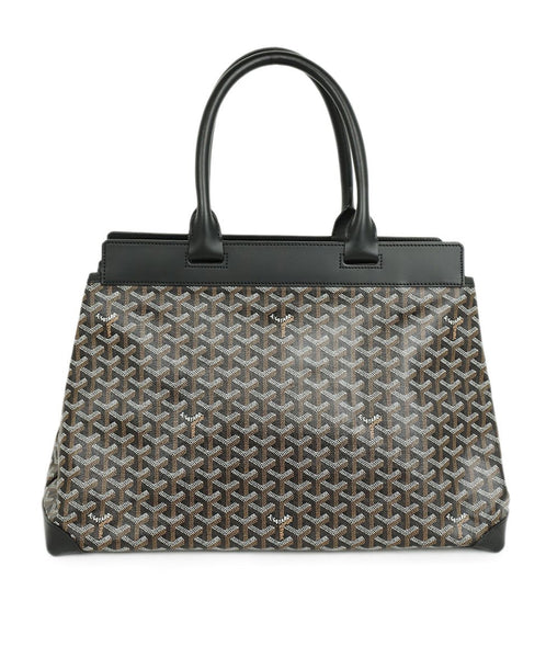 Goyard Black Grey Monogram Print Tote Handbag 1