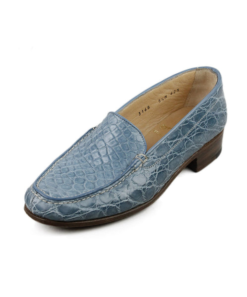 Gravati Blue Alligator Loafers Sz 35.5