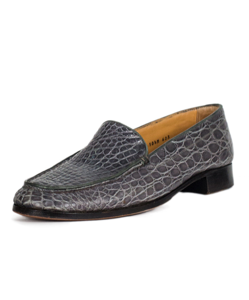 Gravati Grey Embossed Leather Loafers Sz 10.5 - Michael's Consignment NYC  - 1