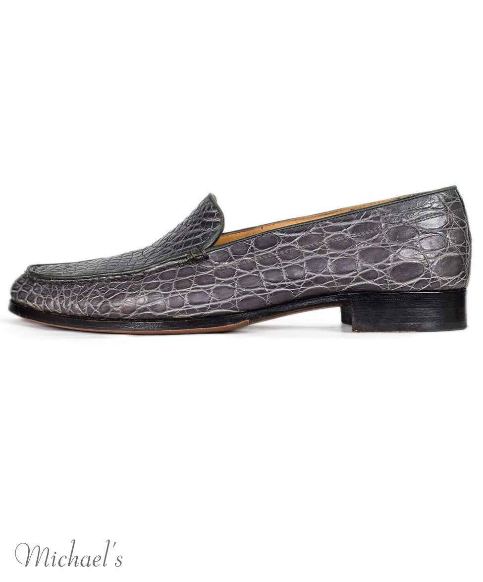 Gravati Grey Embossed Leather Loafers Sz 10.5 - Michael's Consignment NYC  - 2