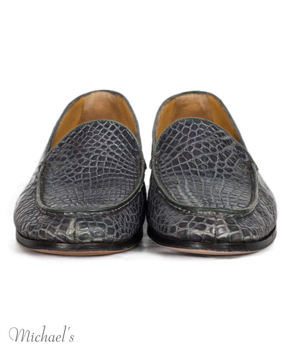 Gravati Grey Embossed Leather Loafers Sz 10.5 - Michael's Consignment NYC  - 3