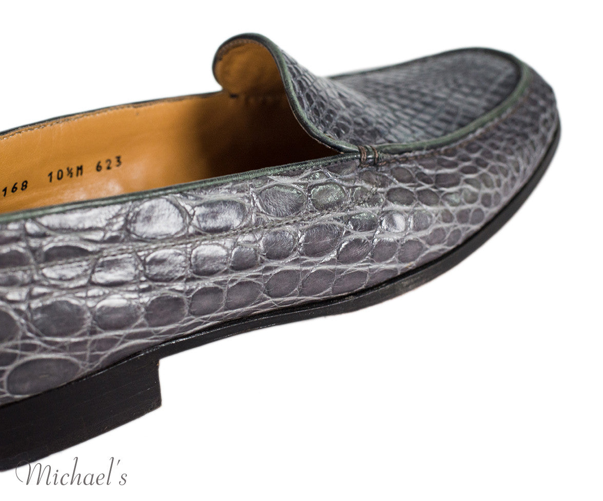 Gravati Grey Embossed Leather Loafers Sz 10.5 - Michael's Consignment NYC  - 7