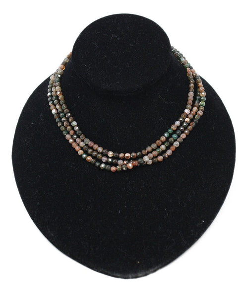 Necklace Green Brown Semi-Precious Beaded Jewelry