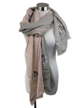 Pink Grey Cashmere Silk Pearl Embroidery Sequins Scarf 1