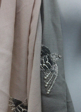 Pink Grey Cashmere Silk Pearl Embroidery Sequins Scarf 2